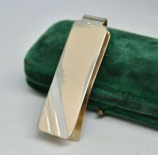 Vintage Sterling silver money clip with Art Deco Gold plated design #P884