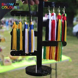 Show Your Colours Tassel Earrings - Jamaica/Rasta/Barbados/Trinidad & Tobago