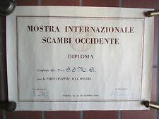 TORINO MOSTRA INTERNAZIONALE SCAMBI D'OCCIDENTE DIPLOMA A DITTA S.I.M.A. JESI