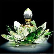 100mm Green Quartz Crystal Glass Lotus Flower Perfume Bottle With Gift Box