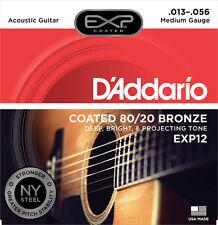 10 Pack! D'Addario EXP12 Acoustic Guitar Strings Light 13-56 Coated 80/20 Bronze