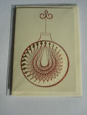 HANDMADE CHRISTMAS CARD HAND SEWN WITH RED SPIRELLI CENTRE