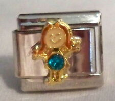 December Girl Birthstone Italian Charm - Stainless Steel - NEW