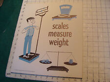 vintage 1950's Instructor kindergarden measure POSTER #2 SCALES MEASURE WEIGHT