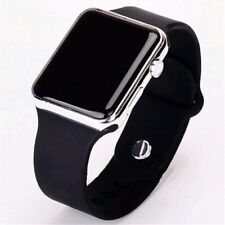 Digital LED Rectangular Screen Silicon Wrist Watch Men Women Teenagers -Silver