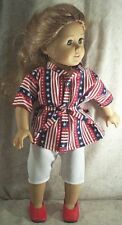 Doll Clothes Handmade2 fit American Girl 18� 2 pcs Carpis Blouse Red White Blue