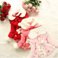 Baby Girls Kids Winter Warm Faux Fur Fleece Jacket Coat Flower Princess Outwear