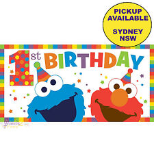 ELMO SESAME STREET 1ST BIRTHDAY PARTY SUPPLIES PLASTIC BANNER WALL DECORATIONS