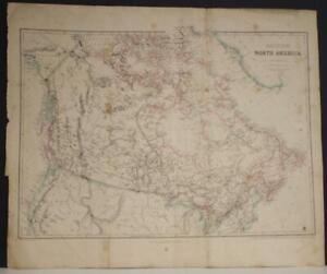 CANADA 1860 JOSEPH WILSON LOWRY ANTIQUE ORIGINAL COLORED LITHOGRAPHIC MAP