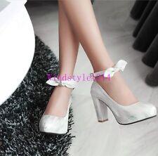 Elegant Ladies Pumps Shoes High Block Heel Ankle Strap PU Leather Party Shoes SZ