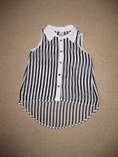 Gorgeous Girls Black & White Striped Sleeveless Shirt Size 10