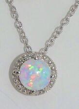 Opal & Diamond Round Pendant .925 Sterling Silver