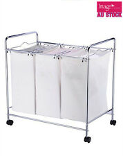 Laundry 3 Divider Compartment Washing Hamper Cart Basket Trolley JBA3098