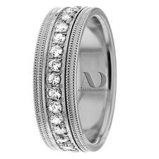 7mm Wide 10K White Gold 1.05 Ctw Double Milgrain Diamond Wedding Ring