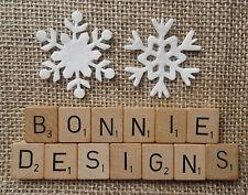 x12 FELT die cut SNOWFLAKES - WHITE Christmas ornaments appliqués kids crafts