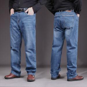 Hommes Jeans Ample Vintage Bouffant Pantalon Coton Bleu Droit Jambe