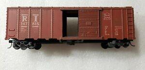 S-scale MARX Rock Island Red Boxcar, w/ Kadee couplers,147815, wooden floor, EUC