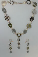 Handcrafted Pearl and Gear Metal Necklace and Earring Set Jewellery