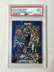 KAWHI LEONARD 2017-18 Prizm BLUE SP FAST BREAK PRIZM /175! PSA MINT 9! #293!