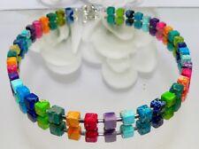 Kette Halskette Edelstein Schmuck PICASO JASPIS Würfel multicolor mehrfarbig 213