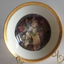 Limoges Les Griffes Small Dish Floral W Gold Rim with BLACK stand SEE LAST PICS.