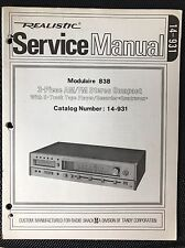 Original Realistic Modulaire 838 Stereo 8-track Tape Receiver Service Manual