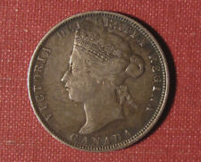 1874H CANADA 25 CENTS - STRONG DETAILS, NICELY TONED, QUEEN VICTORIA STERLING!