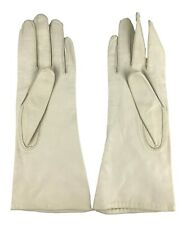 Kay Gloves Hand of Fashion Vintage Soft Ivory White Leather Size 6.5 Silk Lined