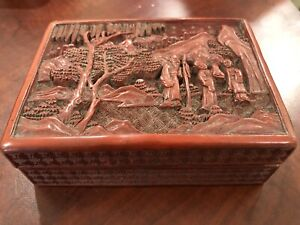 Antique Vintage Chinese Cinnabar Red Lacquer Wood Box Cultural Revolution Carved