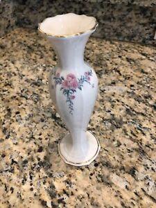 "Lenox Bud Vase 7 3/8"" tall Ivory Porcelain Pink Flowers Gold Trim"