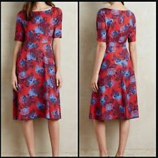 Anthropologie HD in Paris Theodora Red Floral Fit & Flare Midi Dress Size US 8