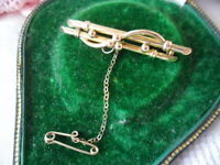 Antique vintage 9ct yellow Gold lucky bamboo forget me not bar brooch pin 9 ct