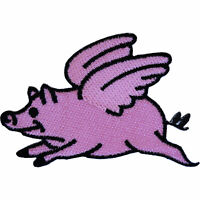 Flying Pig Patch Iron Sew On Clothes Farm Yard Animal Embroidered Badge Applique