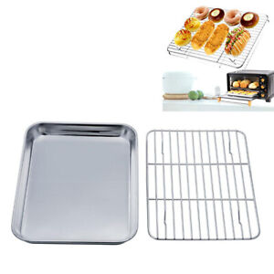 Stainless Steel Baking Tray with Rack BBQ Roaster Oven Cooling Rack Sheet Pan