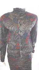 Vtg Emanuel Ungaro Parallele Floral Knit Top Ruched Skirt Womens Sz 10