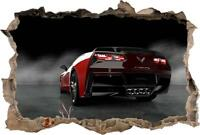 Chevrolet Corvette Stingray Car 3D Smashed Wall Sticker Decal Art Mural J888