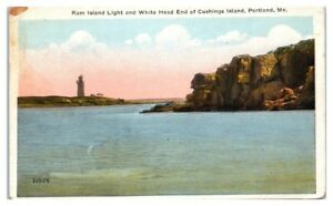 1922 Ram Island Light & White Head End Cushings Island, Portland, Maine Postcard