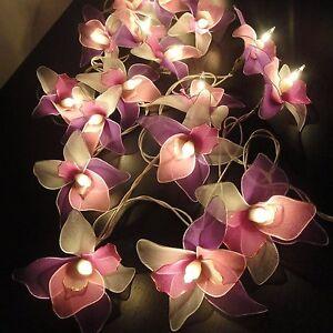 String Lights Vintage Handmade 20 White Pink Purple Orchid Flower Fairy Wedding