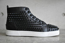 Christian Louboutin Louis Flat Calf/Spikes Black/White 5 UK 39 EUR