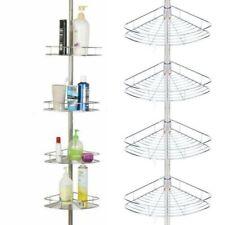 New 4 Tier Shower Corner Caddy Rack Bathroom Bath Metal Storage Shelf Organizer