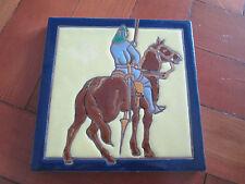 VINTAGE SPANISH CERAMIC TILE MAN ON HORSE