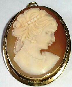 20th Century 18ct Gold Cameo Brooch or Pendant 5.4grs Super Condition cgcb