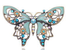 Antique Gold Blue Colored Rhinestones Butterfly Brooch Pin