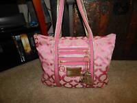 Coach Handbag 17890 Poppy Glam Bag Pink Leather Purse Op Art Large Signature EUC
