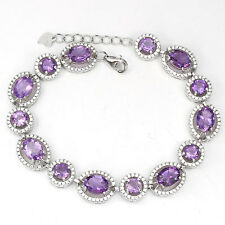 """REAL PURPLE AMETHYST with W.CZ accent  14K ON 925 SILVER TENNIS BRACELET 7""""- 8"""""""