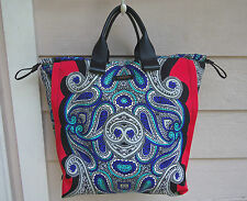 NEW $1385 Lanvin Padam Paisley Vertical Shopper Tote Expandable Leather Blue Red