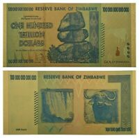 Zimbabwe $100 Trillion Dollars Gold Banknote For Collection Certificate