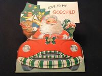 #918🌟Vintage 40s Children's Christmas Card SANTA DRIVING CONVERTIBLE TOYS FLOCK