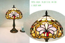 Beautiful Flower Design, Clear Jewels effect Glass Tiffany Style Table Lamp