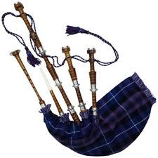 écossais Highland CORNEMUSE TAILLE RéELLE Argent Supports FINI NATUREL AVEC